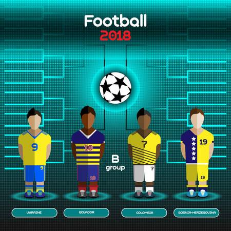 Football Players Scoreboard. Vector digital illustration. Soccer tournament sheet. Visual graphic presentation. Ukraine, Ecuador, Colombia and Bosnia and Herzegovina Teams.