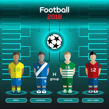 sport cartoon: Football Players Scoreboard. Vector digital illustration. Soccer tournament sheet. Visual graphic presentation. Brazil, Guatemala, Scotland, South Korea Teams.