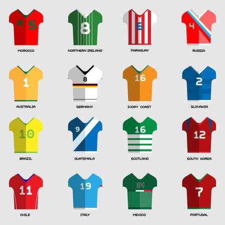 Football Soccer Team Wear. Soccer club t-shirt set. Sports infographic. Digital background vector illustration.