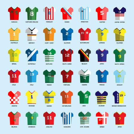 Football Soccer Team Wear. Soccer club t-shirt big set. Sports infographic. Digital background vector illustration. Illustration