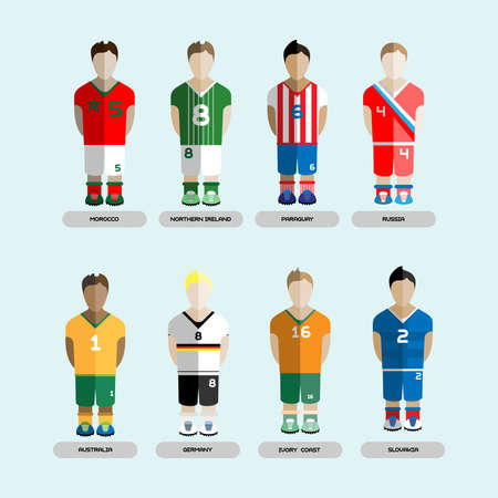 Football club Soccer Players silhouettes. Computer game Soccer team players set. Sports infographic. Digital background vector illustration. Illustration