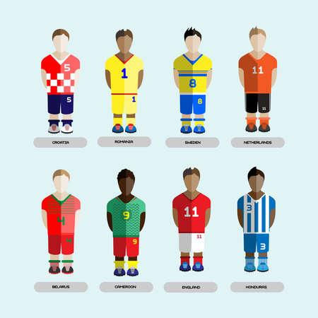 team sports: Club de fútbol Jugadores de fútbol siluetas. Juego de ordenador jugadores del equipo de fútbol fijados. Infografía Deportes. Digital ilustración vectorial de fondo.