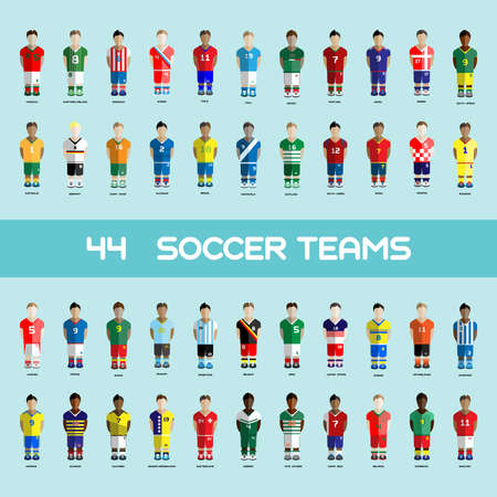 Football club Soccer Players silhouettes. Computer game Soccer team players big set. Sports infographic. Digital background vector illustration.
