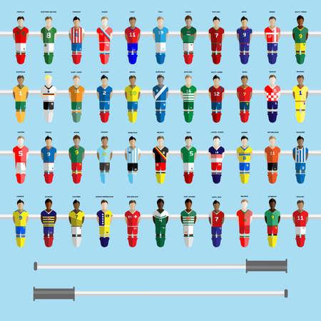 Forty-four Football Club Soccer Players silhouettes. Computer game Soccer team players big set. Sports infographic. Digital background vector illustration.