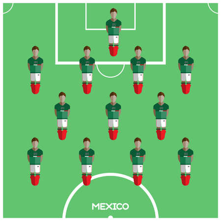 playfield: Football Soccer Players isolated on the Playfield. Computer game Football Club Playground. Digital background vector illustration.