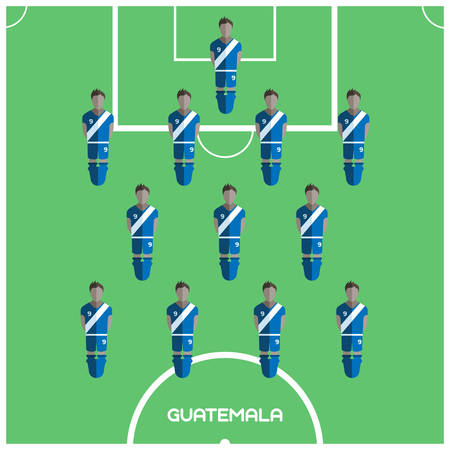 tournament chart: Football Soccer Players isolated on the Playfield. Computer game Football Club Playground. Digital background vector illustration.
