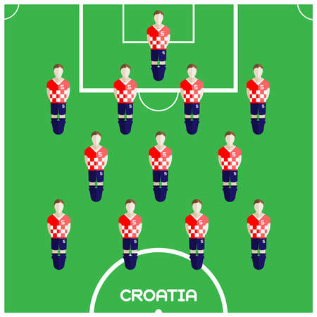 computer club: Football Soccer Players isolated on the Playfield. Computer game Football Club Playground. Digital background vector illustration.