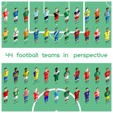 computer club: Football club Soccer Players silhouettes. Computer game Soccer team players big set. Sports infographic. Forty-four Football Teams in Perspective. Digital background vector illustration.