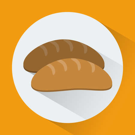 long loaf: Colorful Bread round icon. Long loaf digital vector flat illustration Illustration