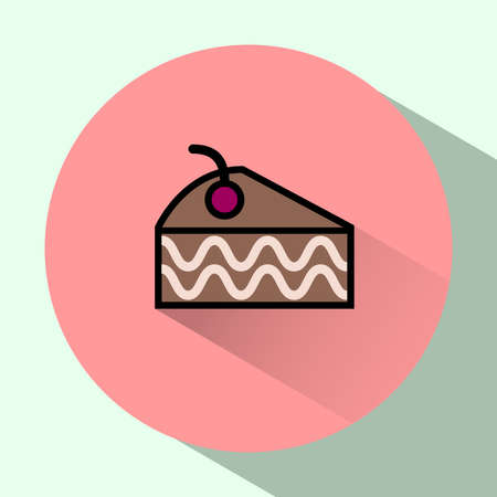 brownie: Colorful Cake Slice with Cherry on top. Brownie. Sweet treats concept. Digital vector flat round icon Illustration