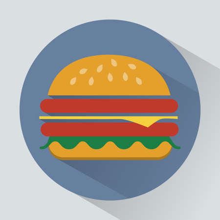 sesame seeds: Cheeseburger with salad leaves, ham and sesame seeds. Big tasty colorful snack. Digital vector illustration.