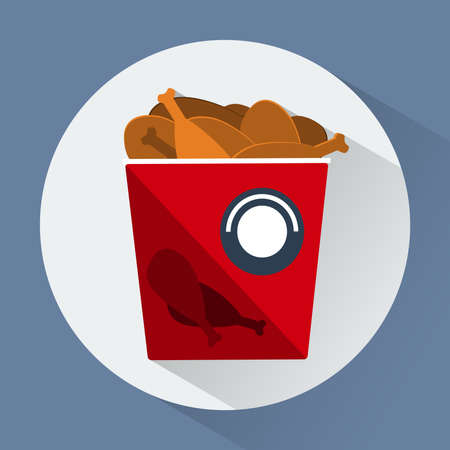 pollo caricatura: Bucket of chicken legs round icon. Snacks. Fast food. Digital vector flat illustration