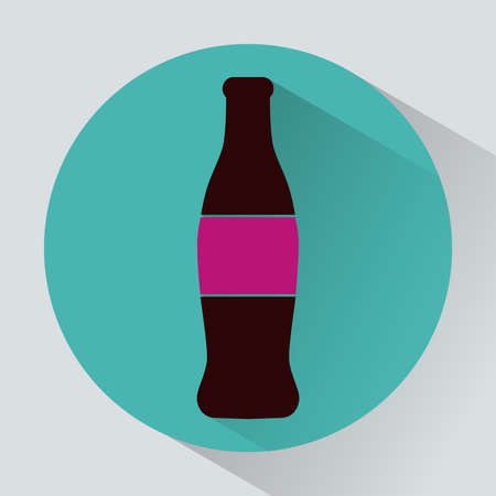 carbonated: Glass bottle of soda round icon. Soft drink. Non-alcoholic carbonated beverage. Digital vector illustration. Illustration