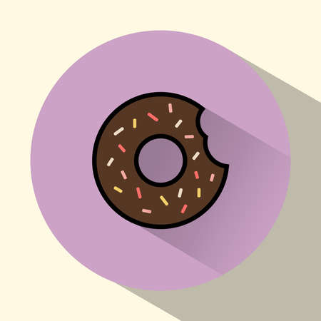sprinkles: Chocolate cream donut with sprinkles and bite mark. Yummy treats and sweets. Digital vector round food icon.