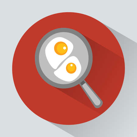 Never miss your breakfast concept. Classic English breakfast. Two fried eggs on the frying pan. Most important meal of the day. Digital vector illustration.