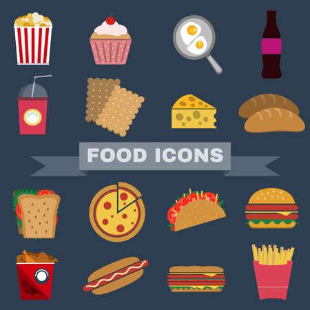 botanas: Colorido Comida rápida y Snacks Icons Set. Patatas fritas, hamburguesas, refrescos Bebidas, perro caliente y galletas. El almuerzo diario Romper extras. Vector de ilustración digital plana. Vectores