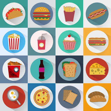 lunch break: Colorful Fast Food and Snacks Icons Set. French Fries, Hamburger, Soda Drinks, Hot Dog and Crackers. Daily Lunch Break Goodies. Digital vector flat illustration.