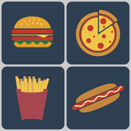 sesame seeds: Snacks icon set. Cheeseburger with salad leaves, ham and sesame seeds. Pizza slice. French Fries Packet. Hot Dog. Fast food Digital vector flat illustration