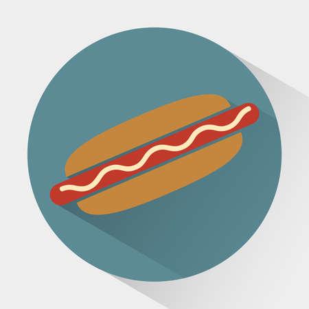 yum: Colorful Hot dog round icon. Snacks. Fast food. Digital vector flat illustration