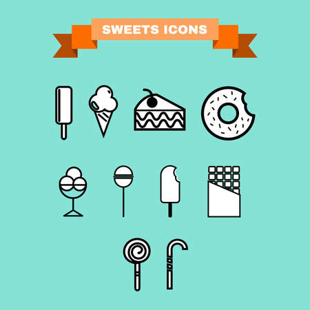 treats: Yummy sweet treats concept.  Ice cream. Cake Slice with Cherry on top. Chocolate cream donut with sprinkles and bite mark. Lollipops. Chocolate Bar. Candy stick. Digital vector icon set