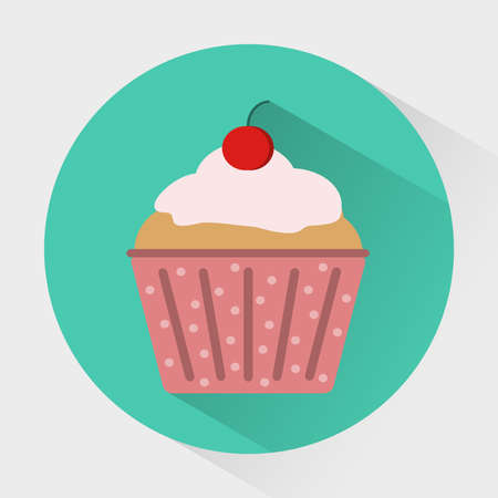 treats: Colorful Muffin with Cherry on top. Cupcake with cream in polka dot paper baking cup. Sweet treats concept. Digital vector flat round icon