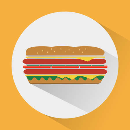ham sandwich: Sandwich with salad leaves, ham and cheese. Big tasty snack. Fast food. Digital vector illustration.