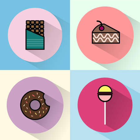 brownie: Yummy sweet treats concept. Chocolate Bar. Cake Slice with Cherry on top. Piece of Brownie. Chocolate cream donut with sprinkles and bite mark. Colorful Lollipop. Digital vector round icon set