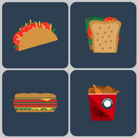ham and cheese: Snacks icon set. Taco. Sandwiches with salad leaves, ham, cheese  and tomatoes. Bucket of chicken legs round icon. Fast food. Digital vector flat illustration
