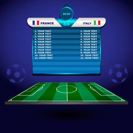 scoreboard: Football Soccer Match Statistics. Scoreboard with players and match score and other data. Football stadium playfield backdrop. France versus Italy Team. Digital background vector illustration.