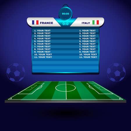 Fußball-Fußballspiel Statistik. Scoreboard mit Spielern und Spielpartitur und andere Daten. Fußballstadion Spielfeld Kulisse. Frankreich gegen Italien-Team. Digital-Hintergrund Vektor-Illustration.