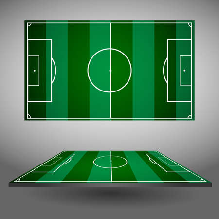 playfield: Football or Soccer Playfield Top and Side Views. Sports stadium isolated on a gray backdrop. Digital background vector illustration.