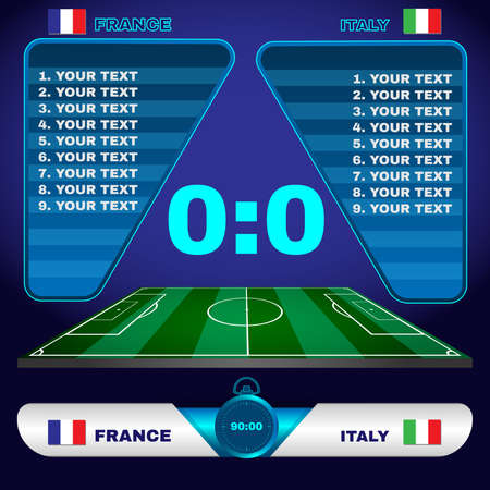 playfield: Football Soccer Match Statistics. Scoreboard with players and match score and other data. Football stadium playfield backdrop. France versus Italy Team. Digital background vector illustration.