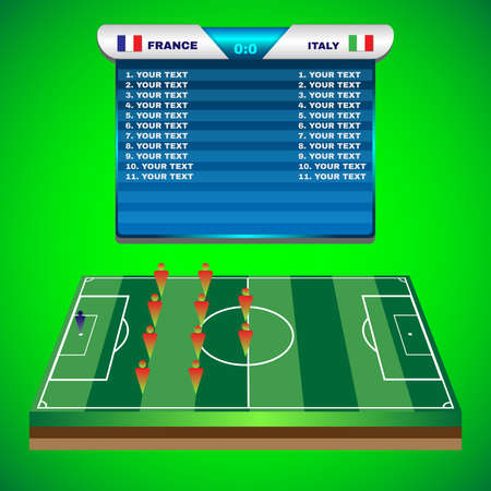 playoff: Football Soccer Match Statistics. Scoreboard with players and match score and other data. Football stadium playfield backdrop. France versus Italy Team. Digital background vector illustration.