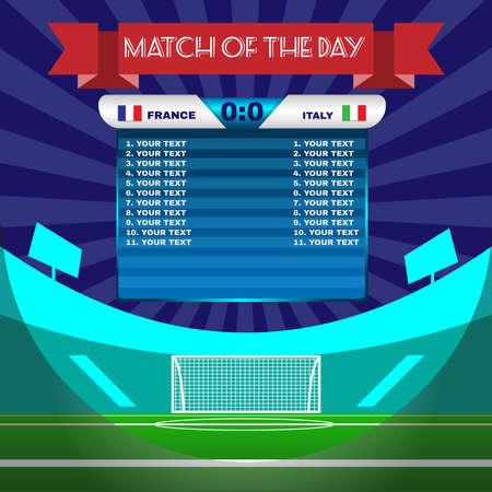 サッカー サッカー試合の統計情報。スコアボードには選手と試合のスコアとその他のデータ。サッカー スタジアムのプレイ フィールドの背景。イ  イラスト・ベクター素材