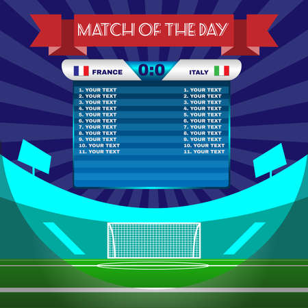 Football Soccer Match Statistics. Scoreboard with players and match score and other data. Football stadium playfield backdrop. France versus Italy Team. Digital background vector illustration.