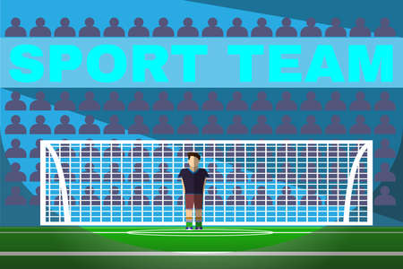 arquero futbol: Portero del fútbol de pie en una portería de fútbol. Sportswear diseño plano. Jugador de fútbol con botas de color azul con calcetines verdes, pantalones cortos de color marrón y negro de la camiseta. Digital ilustración vectorial de fondo.