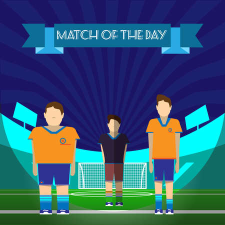 sportswear: Two Football or Soccer Players and Referee on the game field. Match of the Day message. Sportswear flat design. Digital background vector illustration.