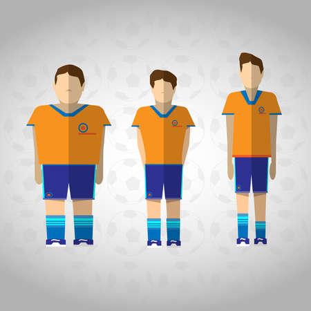 three men: Team of Three Football or Soccer Players. Sportswear flat design. Three men wearing blue boots with blue socks, shorts and orange t-shirt. Digital background vector illustration.
