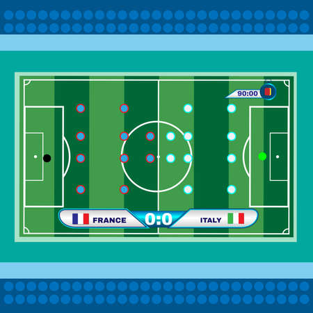 strategic planning: Soccer Stadium Playfield Top View. Strategic Planning Football Match. France versus Italy Team Match. Digital background vector illustration.