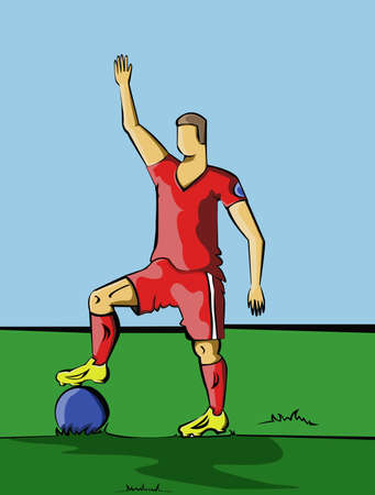 red boots: Football or Soccer Player standing out in the field. Sportswear design. A man wearing yellow boots with red socks, shorts and t-shirt. Digital background vector illustration.