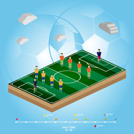 strategic planning: Soccer Stadium Playfield Side View. Strategic Planning Football Match Infographics. Team Match Half Time. Digital background vector illustration.