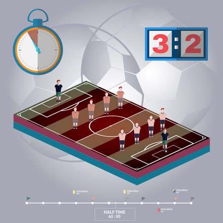Soccer Stadium Playfield Side View. Strategic Planning Football Match Infographics. Team Match Half Time. Digital background vector illustration.