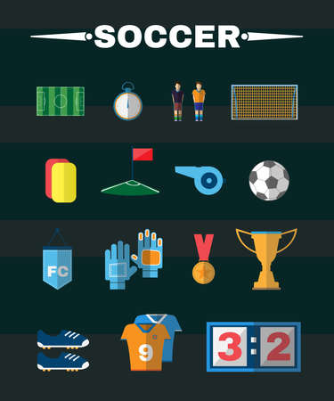 playfield: Soccer Game Icons. Football Elements - Playfield, Stopwatch, Flag, Medal, Gold Cup, Ball, Players and others. Digital background vector illustration. Illustration