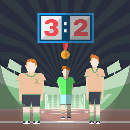 playfield: Soccer Game Players on the Playfield. Champions with Gold Medal. Goalkeeper Standing in the Football Goal. Digital background vector illustration.
