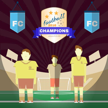 playfield: Soccer Game Players on the Playfield. Two Football Clubs. Goalkeeper Standing in the Football Goal. Digital background vector illustration. Illustration