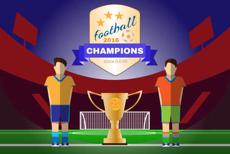 Soccer Game Players on the Playfield. Two Football Clubs. Champions with Gold Cup. Goalkeeper Standing in the Football Goal. Digital background vector illustration.