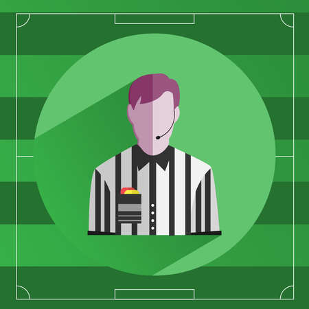 outdoor sports: Referee icon. Referee in striped shirt with Red and Yellow Cards in the Pocket. Soccer Game Field template backdrop. Outdoor Sports digital background vector illustration. Illustration