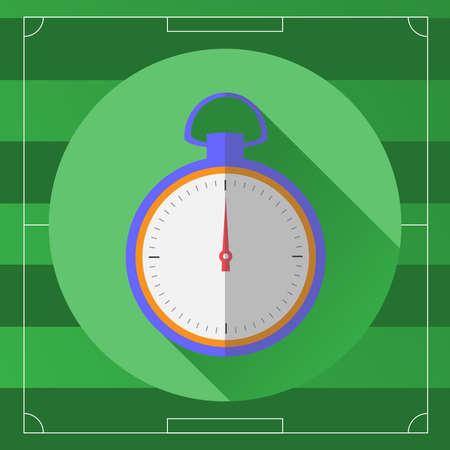 cronometro: Icono del fútbol Árbitro Cronómetro. Cronómetro en el campo de juego de telón de fondo. Digital ilustración vectorial de fondo. Vectores