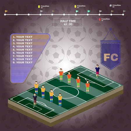 playfield: Soccer Stadium Playfield Side View. Strategic Planning Football Match Infographics. Team Match Half Time. Digital background vector illustration.