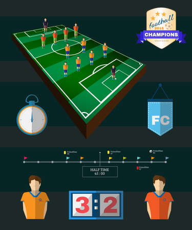 strategic planning: Soccer Stadium Playfield Side View. Strategic Planning Football Club Match Infographics. Team Match Half Time. Digital background vector illustration. Illustration